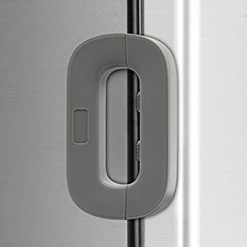 Home Freezer Lock Refrigerator Fridge Door Lock -Baby Safety Child Lock Latch Catch Toddler Kids Child Cabinet Fridge Locks,Easy to Install and Use 3M Adhesive no Tools Need or Drill  1PCS Grey