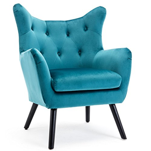 BELLEZE Mid Century Wing Back Chair Button Tufted Wood Leg Wood Frame Polyester Upholstered Arm Curved Living Room Teal