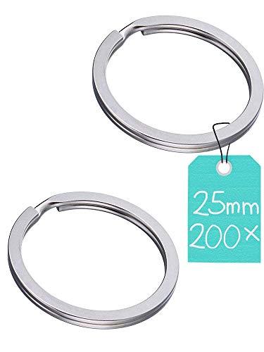 Star-Line® - Set di 200 anelli portachiavi, Ø 25 mm, in acciaio temprato e piatto (extra resistente)