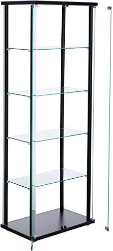 5-Shelf Glass Curio Cabinet Black and Clear