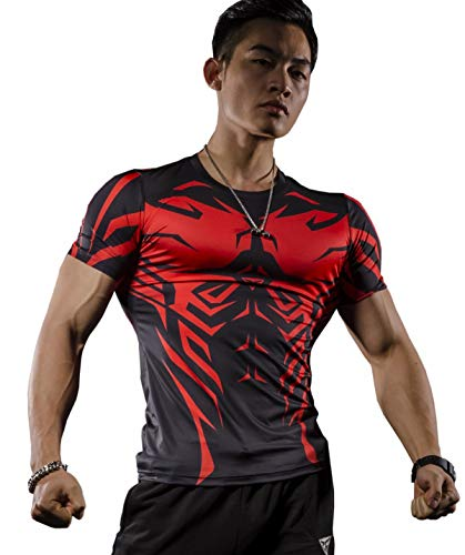 Cody Lundin Men's 3D Printed Compression T-Shirt Cool Dry Tights Short Sleeve Compression Base Layer for Sports (Style f, M)