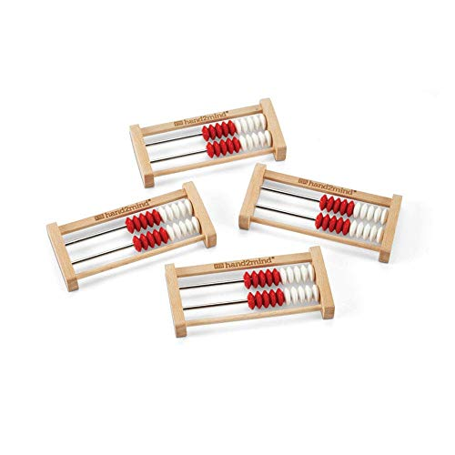 hand2mind 20-Bead Wooden Rekenrek Abacus, Colored Abacus for Kids Math, Wooden Counting Math Manipulatives, Bead Counters for Kids Math, Learn Counting and Numbers, Homeschool Supplies (Set of 4)