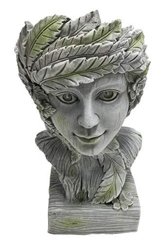 Dehner Dekofigur Helios zum Bepflanzen, ca. 49.5 x 29 x 25.5 cm, Magnesia, grau/hellgrün
