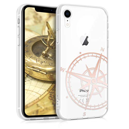 kwmobile Hülle kompatibel mit Apple iPhone XR - Handyhülle - Handy Case Kompass Vintage Rosegold Transparent