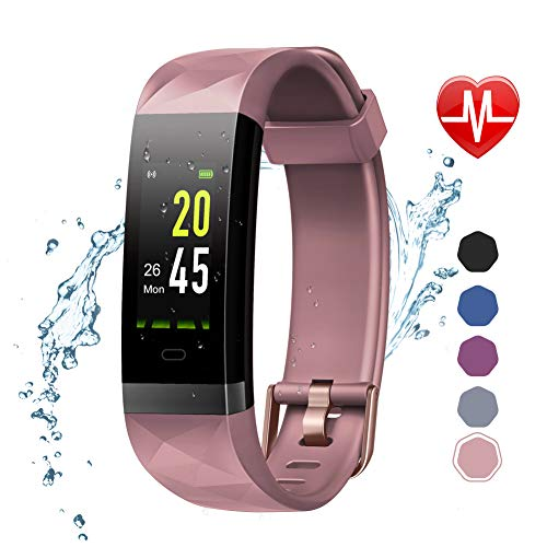 LETSCOM Fitness Tracker Color Screen HR, Activity Tracker with Heart Rate Monitor, Sleep Monitor, Step Counter, Calorie Counter, IP68 Waterproof Smart Pedometer Watch for Men Women Kids Features Fitness Pedometers Sports
