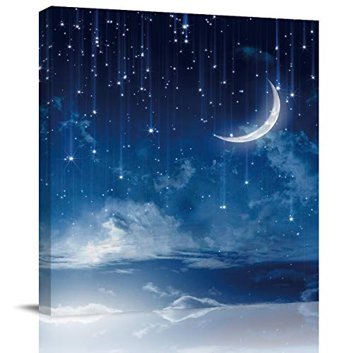 Chucoco Oil Paintings On Canvas Wall Art, Stars and Moon Wonderland Abstract Print Artwork with Framed Ready to Hang, Living Room Kitchen Corridor Bedroom Office Decor 16x16inch