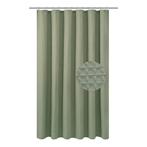 Barossa Design Extra Long Fabric Waffle Weave Shower Curtain 84 inch Height, Hotel Collection, Water Repellent, 230gsm Heavy Duty, Machine Washable, Sage Green Pique Pattern, 71x84