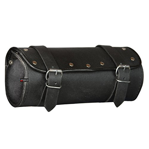 For Sale! Motorcycle Cruiser Biker Leather Tool Bag Pouch Roll Barrel Shape Handlebar Bag