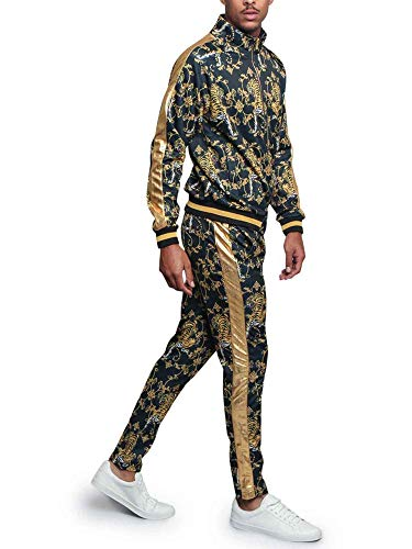 Men's Gold Accent Tiger Print Track Suits 2 Piece Sweatsuit Set ST556 - Black - Medium - Q1B