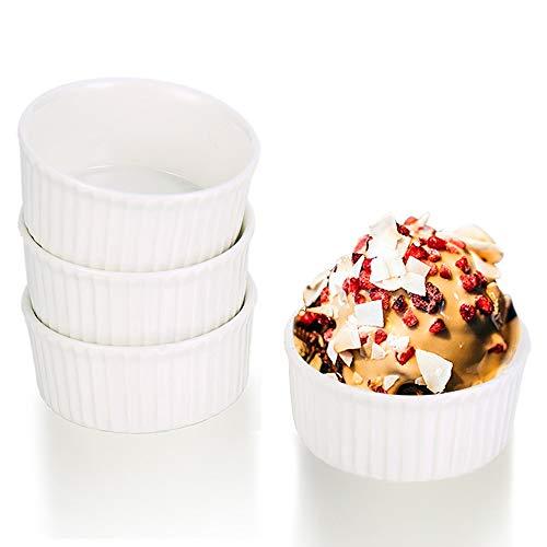 G.a HOMEFAVOR 9 cm Ramekin Bianco, Stampini Set Pirottini per Soufflé, 4 Confezioni di Tazze di Ceramica da Forno per Muffin Cupcakes