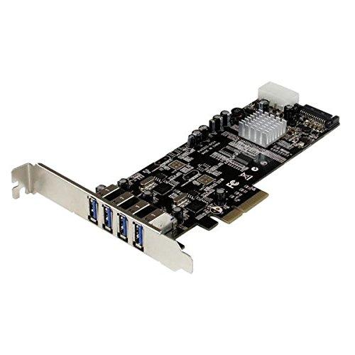 StarTech.com Adaptador Tarjeta PCI Express PCI-E 4 Puertos USB 3.0 UASP Bus Doble con Alimentación Molex SATA - Accesorio (PCIe, USB 3.0, 5 Gbit/s, 0-50 °C, -20-60 °C, 5-85%)