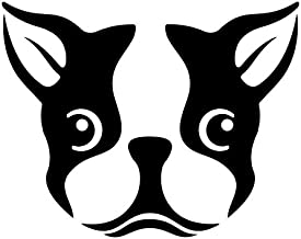 Cute Boston Terrier Dog Vinyl Decal Sticker | Cars Trucks Vans SUVs Windows Walls Cups Laptops | Black | 5.5 Inch | KCD2431B