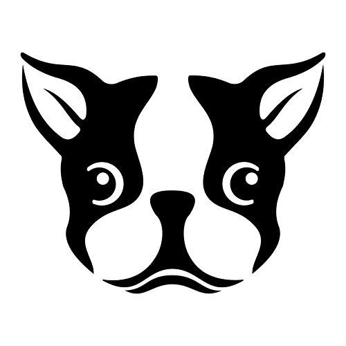 Cute Boston Terrier Dog Vinyl Decal Sticker | Cars Trucks Vans SUVs Windows Walls Cups Laptops | Black | 5.5 Inch | KCD2431B