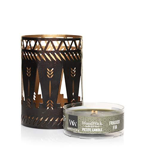 WoodWick Frasier Fir cadeauset met kleine geurkaarsen en bronzen kandelaar met boommotief