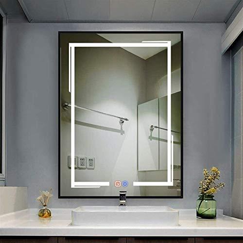 FansQ 600x800MMRectangular LED Espejo de baño Iluminado con Interruptor táctil/Tiempo/Desfoque, Espejo Decorativo de Colgante Horizontal/Vertical, función de atenuación (Color : G, Size : Vertical)