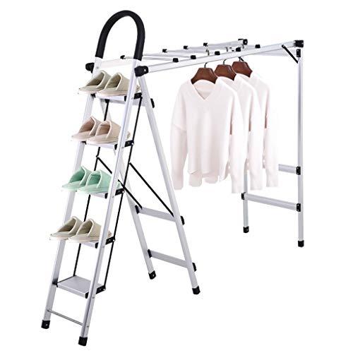 NS Multifuncional Escalera Tipo Tendedero para Secar Ropa Airer Plegable Aluminio Repisa Zapatos Baño Toallero Perchero Step Home Ladder (Size : Five Step)