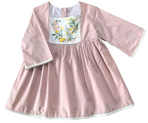 Roupas infantis Moxie and Griz, Pale Pink Hand Embroidered Dress, 12 Months