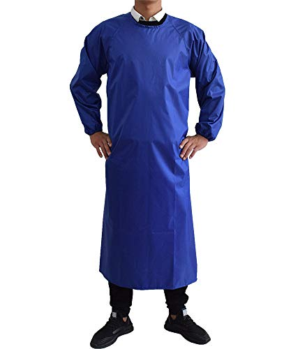 Waterproof Aprons with Long Sleeves, Chemical Resistant Aprons for men MD008Blue