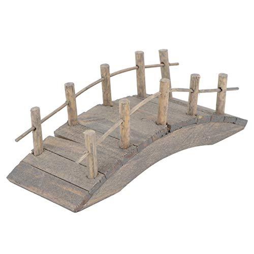 Hemoton Holzbrücke für Miniaturgarten Fee Gartenbogenbrücke Mikrolandschaft Gartenverzierung 10Cm