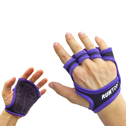 RUNTOP Workout Gloves Fitness Cross Training WODS Gym Yoga Exercise Grip Pads Weight Lifting Powerlifting Anti-Slip Barehand Strong Grips Palm Protect Men Women (Purple, S)