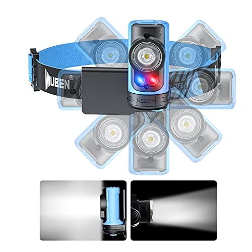 WUBEN H3 LED Stirnlampe Superhell, 360° Drehbar, Mini Leichtgewichts LED Stirnlampen Wasserdicht IPX6 AAA Angetrieben Kopflampe Klein, 7Modi Perfekt fürs Laufen,...