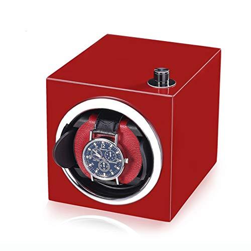 Caja de almacenamiento eléctrica para reloj automático, pintura de piano, muy silenciosa, para hombres y mujeres, agitador automático de cadena (rojo y negro) (color: rojo)