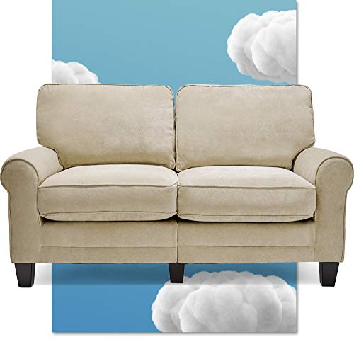 """Serta Copenhagen 61"""" Loveseat - Pillowed Back Cushions and Rounded Arms, Durable Modern Upholstered Fabric - Tan"""