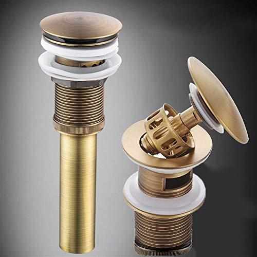 FCS Bathroom Ablaufgarnitur waschbecken pop up mit überlauf, Ablaufventil Push Open Messing Ventil Ablauf Runder für Waschtisch/Waschbecken, Eingebautes Anti-Clogging-Sieb (Color : Bronze)