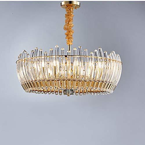 Warm huis licht, creatieve persoonlijkheid, lamp van koper en goud, design-model, woonkamer, eettafel, lamp van transparant glas met 8 koppen, ronde doorsnede D72 cm mooi