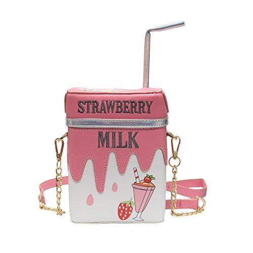 LUI SUI Cute Straw Lemon Milk Box Cross Body Bag Purse Women Adjustable Strap Shoulder Messenger Bag Mobile Phone Wallet