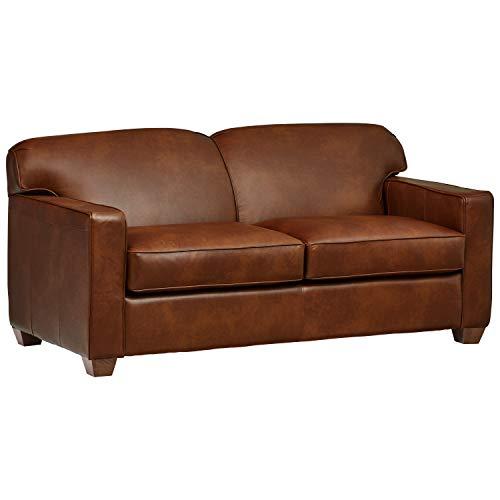 Amazon Brand – Stone & Beam Fischer Full-Sized Sleeper Sofa, 72'W, Chestnut Leather
