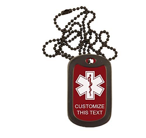 Medical Alert Dog Tag Custom Engraved Medic ID Military Dog Tag with Silencer Emergency