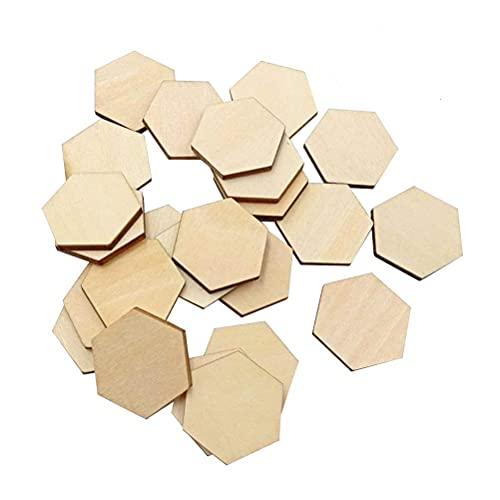 SUPVOX 200pc Madera Piezas hexagonales Ornamentos Madera Formas embellissement Tuercas condecoraciones para Boda cumpleaños de Navidad, Madera, Ver Imagen, 30 mm