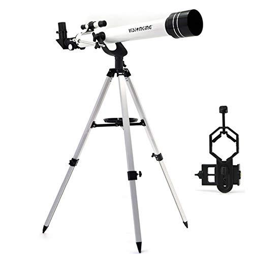 LEDU Telescopio astronómico, telescopio telescopio de 60/700 mm de refracción astronómica observando monocular y trípode con Adaptador de Lente de teléfono Celular