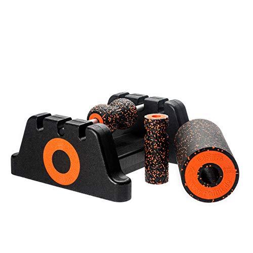 PHILFIT Faszienrolle, Yogarolle, Massagerolle Bundle Expert Medium, schwarz/orange mit Boden- und Wandhalterung
