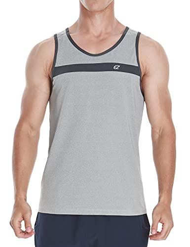 EZRUN Herren Tank Tops Quick Dry Athletic Training Workout Shirts für Gym Fitness Bodybuilding Laufen Joggen Training, Herren, Hellgrau, Large