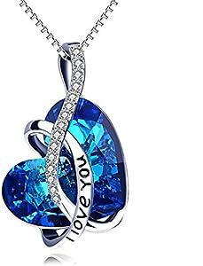 """Kette Herz Sterling Silber""""Ich Liebe Dich"""" Halskette Damen mit Kristallen, Geburtstagsgeschenk für Frauen Freund (l Love You (Blau))"""