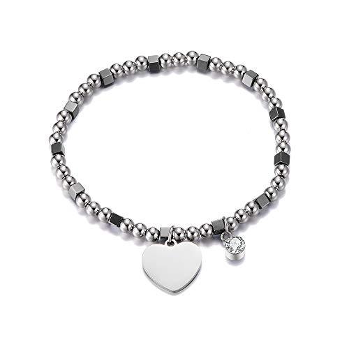 Ouran Pulsera elástica de cuentas para mujer, colgante de acero inoxidable con cordón elástico de cristal, regalo para amigos, Cristal, Cubic Zirconia,