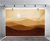 GooEoo 10x8ft 日の出山のグラデーションの概念の風景の写真の背景の子供の誕生日パーティーのバナー写真スタジオの小道具家族のパーティーの誕生日の背景のベビーシャワーの装飾のビニール素材