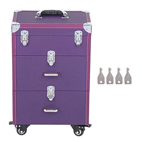 Beauty Case met wielen, cosmetica-etiketten, draagtas, make-up, winkelwagen, kapper, koffer met grote capaciteit, bagagetas voor gereedschapskist voor nageltattoos