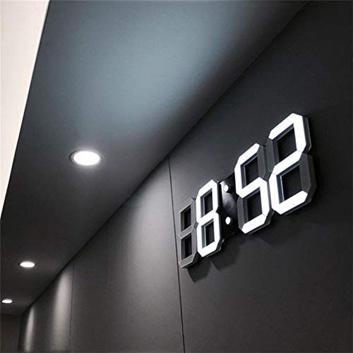 That hereb Luz LED Digital Numbers – Reloj de Pared con 3 Niveles Brillo Snooze electrónica Despertador Pared estéreo Reloj de Pared USB
