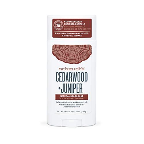Schmidt's, Aluminum Free Natural Deodorant for Women and Men 24 Hour Odor Protection Certified Cruelty Free Vegan Deodorant oz, Cedarwood + Juniper, 3.25 Ounce