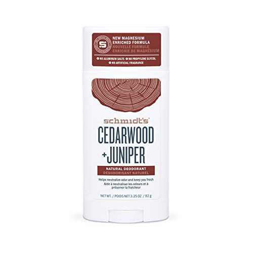 Schmidt's Aluminum Free Natural Deodorant for Women and Men, Cedarwood + Juniper 24 Hour Odor Protection, Certified Cruelty Free, Vegan Deodorant, 3.25 oz