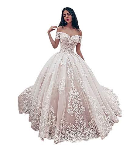 ScelleBridal Women's Off Shoulder Applique Ball Gown Wedding Dresses Bridal Gown Blush Pink