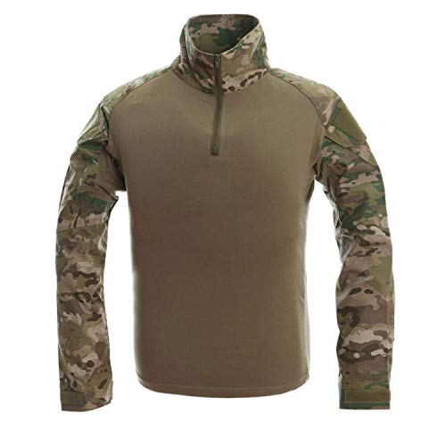 LANBAOSI T-shirt militaire tactique pour homme Multicam Rapid Assault Army Airsoft - Multicolore - X-Small