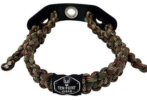 Ten Point Gear Bow Archery Wrist Sling 550 Paracord - Survival Hunting Shooting - Durable Leather with Metal Grommet (Multiple Color Options) (Big Woods Camo)