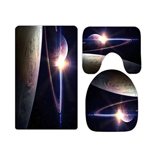 3 Stück Set Badematten RutschfesteGalaxienuniversum Saturn Blick vom Planeten Erde Teppich Matte Badteppich Vorleger WC-Badezimmer