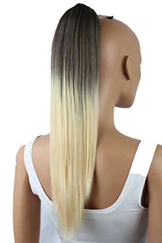 """PRETTYSHOP Hairpiece Ponytail Clip on Extension Long hair smooth Heat-Resisting 20""""(50cm) Ombré brown blond # 8T613 H114"""