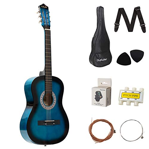 Dawoo 38-Inch Acoustic Guitar, Beginner Music Lovers Guitar Set (Blue)