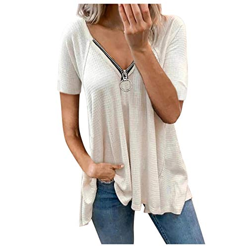 Younthone Frauen V-Ausschnitt lose lässige Tanktops Sexy Reißverschluss T-Shirts Sommer ärmellose Bluse Tuniken